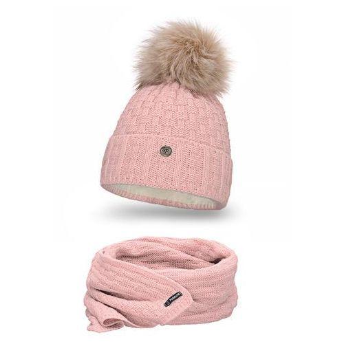 Pamami Komplet , czapka i szalik - pudrowy róż - pudrowy róż (5902934056052)