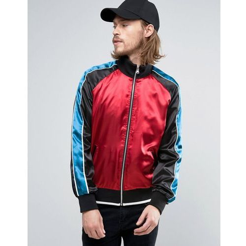 zip through overhead jacket with with cut and sew panels in red - red marki Asos