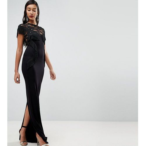 ASOS TALL Lace Maxi Dress with Fringing - Black