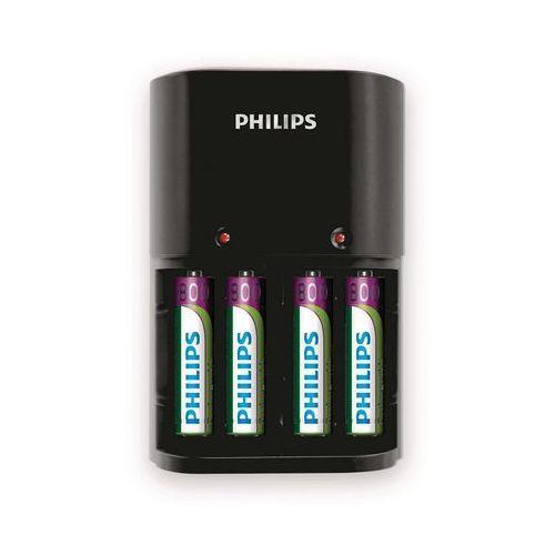 Ładowarka akumulatorów typu AA i AAA Philips SCB1450NB/12 + 4 baterie AAA 800 mAh (8712581606701)