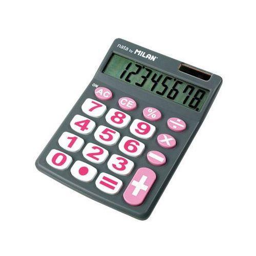 Kalkulator 8-pozycyjny z dużymi klawiszami szary marki Milan