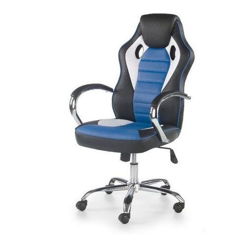 Helix fotel gamingowy dla graczy czarno-biało-niebieski marki Style furniture