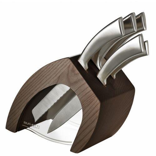 Zestaw 5 noży w bloku Bugatti Virgola tobacco