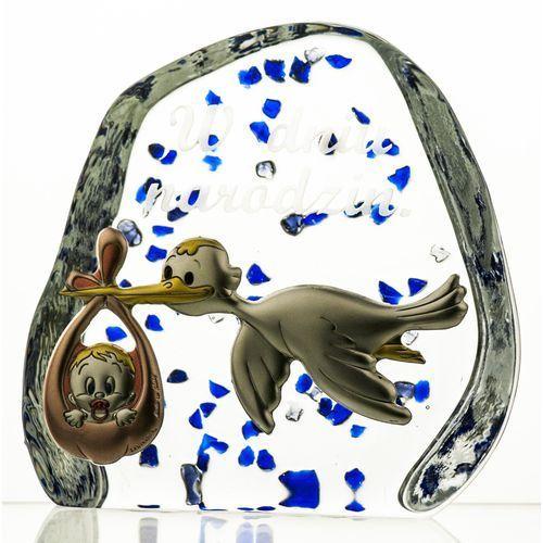 Crystal julia Skałka z grawerką i blaszką bocian kryształ (2095) (5900341020956)