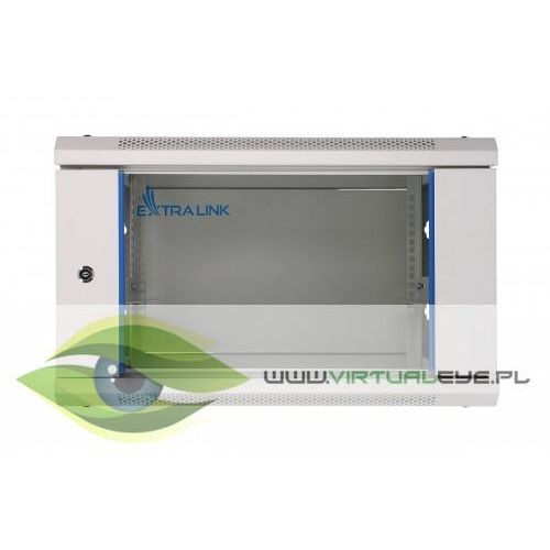 Extralink szafka wisząca rack 6u 600x600 szara szklane drzwi