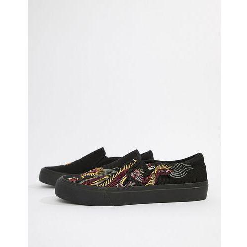 ASOS DESIGN Slip On Plimsolls In Black Mesh With Dragon Embroidery - Black, kolor czarny