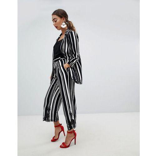 lace trim stripe wide leg trouser - black, River island