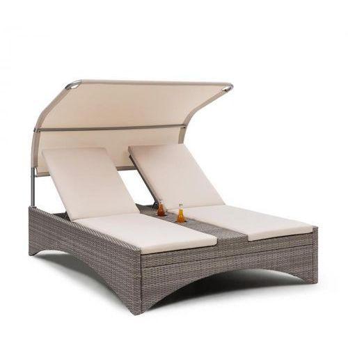 eremitage double lounger, leżak 2-osobowy, aluminium/rattan szarobrązowy marki Blumfeldt