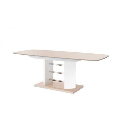 Hubertus design Stół rozkładany linosa 3 140cm cappuccino-biały wysoki połysk