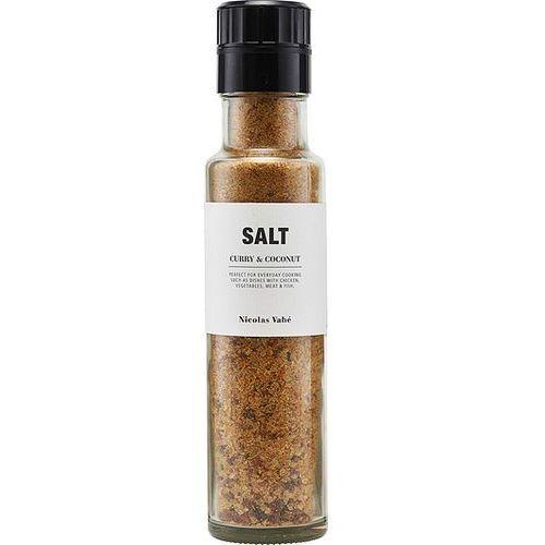 Sól, curry i kokos w butelce z młynkiem marki Nicolas vahe