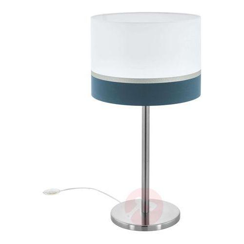 Lampa stołowa spaltini z niebieskim paskiem marki Eglo