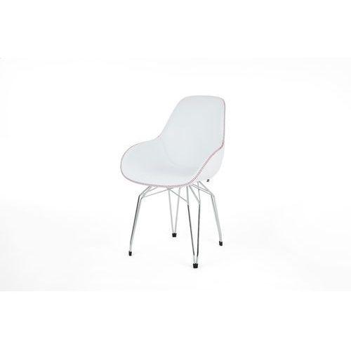 Kubikoff Krzesło DIAMOND CHROM DIMPLE TAILORED eko-skóra diamonddimpletailored-eco CHR, kolor różowy