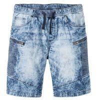 Bermudy dżinsowe z gumką w talii regular fit niebieski denim marki Bonprix