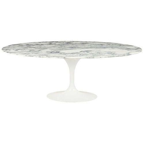 Stół tulip ellipse marble arabescato - biały - blat owalny marmurowy, metal marki Sofa.pl