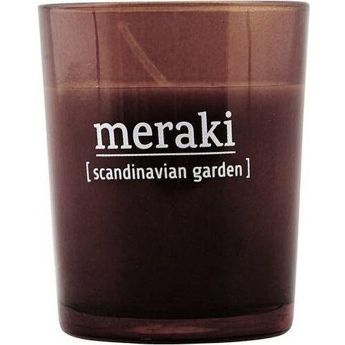 Świeca zapachowa Meraki w ciemnym szkle mała Scandinavian Garden, Mkap040