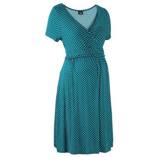 Sukienka ciążowa i do karmienia, shirtowa, krótki rękaw bonprix niebieskozielony - morski pastelowy w kropki, w 6 rozmiarach