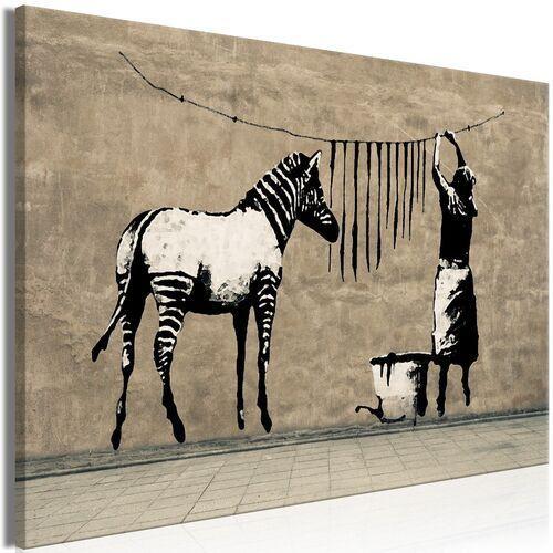 Obraz - banksy: pranie zebry na betonie (1-częściowy) szeroki marki Artgeist