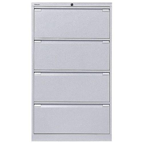 Bisley Szafka na kartotekę wiszącą, 2-torowa, 4 szuflady, din a4, biały aluminium. na t