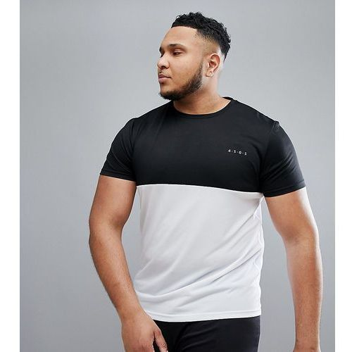 plus t-shirt with quick dry and contrast panel - multi, Asos 4505, XXL-XXXL