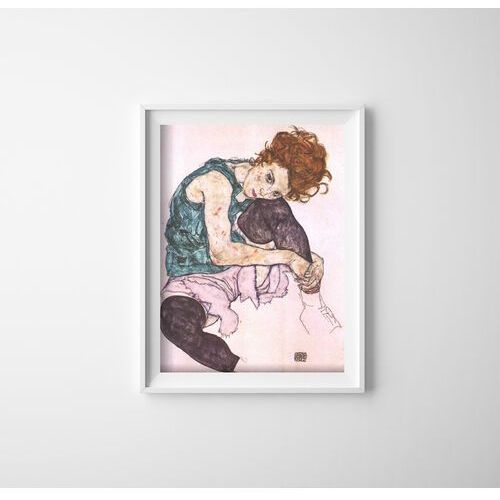 Vintageposteria.pl Plakat retro plakat retro siedząca kobieta z wygiętym kolanem egon schiele