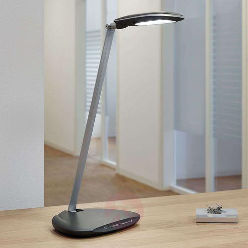Lampka LED na biurko MAULpulse Colour Vario, 7W, ze ściemniaczem, srebrno-czarna (4002390064606)