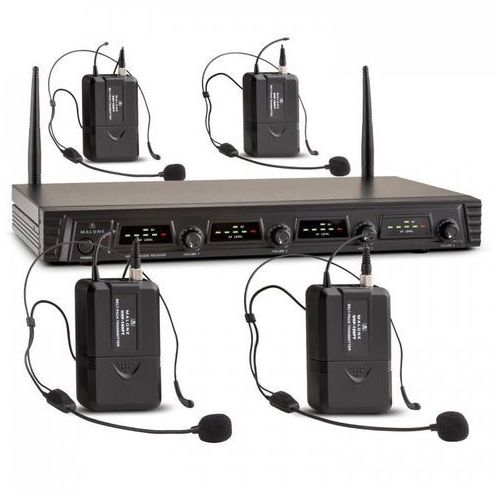 Duett Pro V3 4-kanałowy bezprzewodowy zestaw mikrofonowy UHF zasięg 50m
