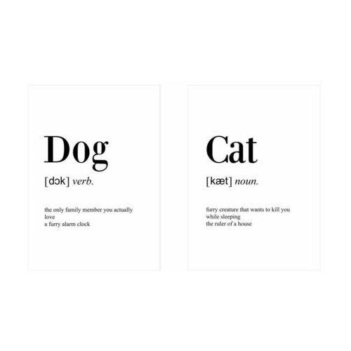 Zestaw 2 plakatów dog cat 50 x 70 cm marki Art canvas