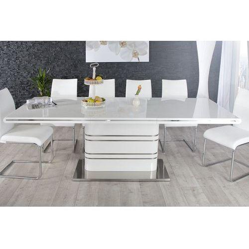 Interior Stół rozkładany scultura 160-220 cm - biały (wysoki połysk)