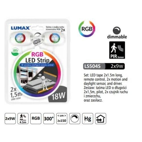 Ls504s zestaw rgb: tasma led 18w 2x1,5m, czujnik, zasilacz, pilot dim marki Lumax
