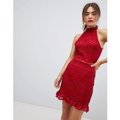 high neck lace dress - red marki Parisian