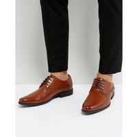 derby brogue shoes in tan faux leather with embossed panel - tan, Asos