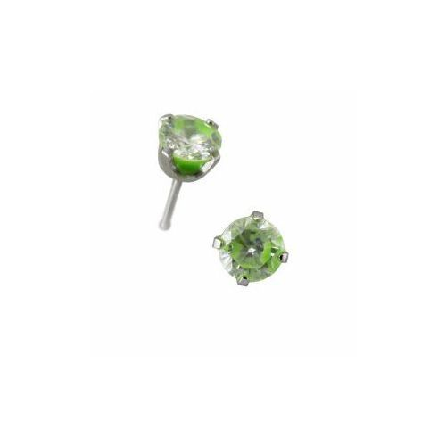 Kolczyk Zirconia Neon Green Para, kolor zielony