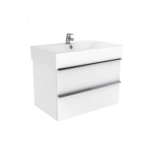 New trendy kubiko szafka wisząca + umywalka dwuotworowa biały połysk 100 cm ml-pi275