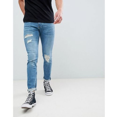 skinny jeans with rips in mid wash - blue, River island