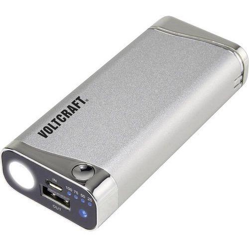 Powerbank VOLTCRAFT PB-12 mit USB-Feuerzeug und UV-Leuchte, 5200 mAh, Li-Ion, srebrny (4016138956399)