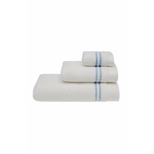 Zestaw podarunkowy małych ręczników chaine, 3 szt biały / niebieski haft marki Soft cotton