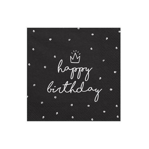 SERWETKI HAPPY BIRTHDAY CZARNE 20szt (5902230750678)