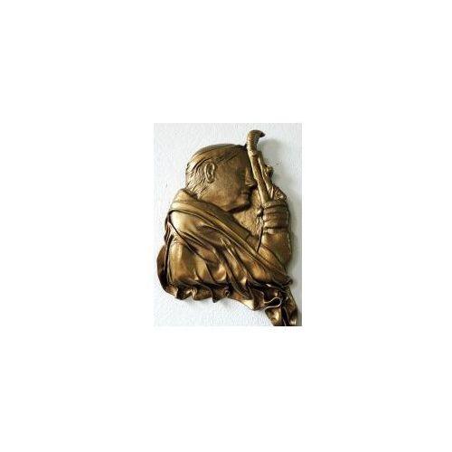Art deco Papież jan paweł ii - oryginalna płaskorzeźba w skórze - kolor mosiądz - pst-5