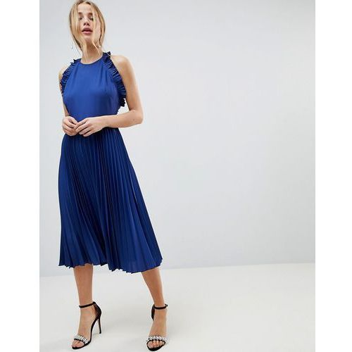ASOS Pleated Midi Dress With Ruffle Open Back - Blue
