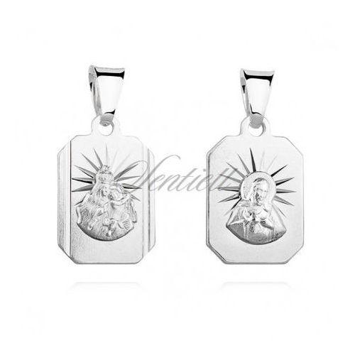 Sentiell Srebrny medalik jezus / matka boska szkaplerzna - gmd092