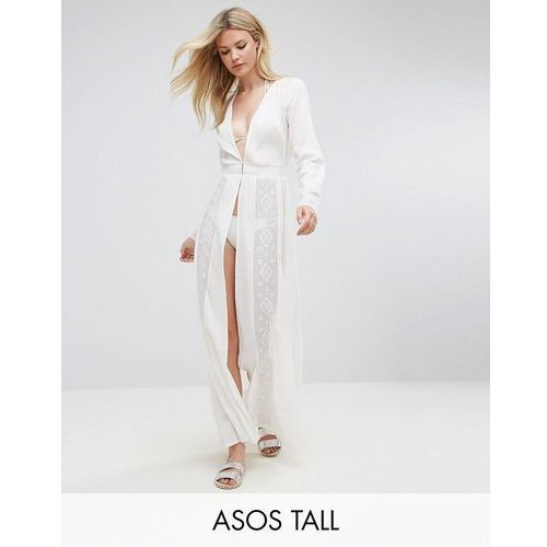ASOS TALL Beach Premium Embroidered Maxi Cover Up with Long Sleeves - Cream