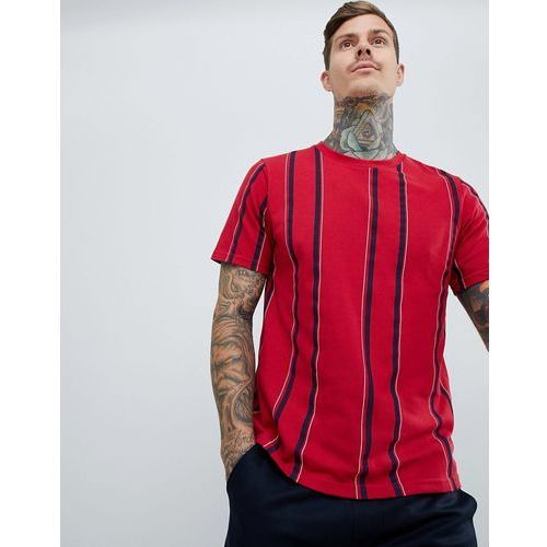 t-shirt with vertical stripes in burgundy - red marki Pull&bear