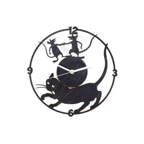 Congee.pl Drewniany zegar na ścianę kot i myszy z białymi wskazówkami