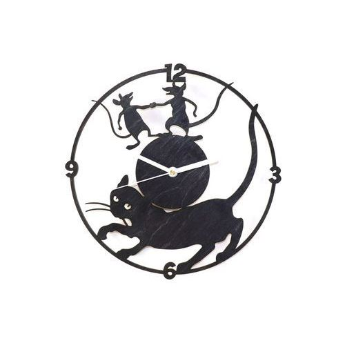 Drewniany zegar na ścianę Kot i myszy z białymi wskazówkami (5907509932465)