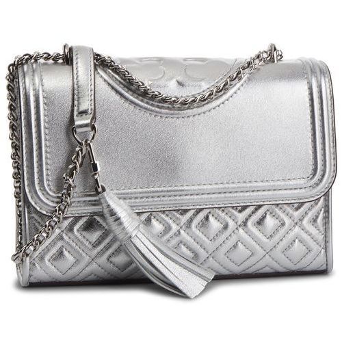 Torebka - fleming metallic small convertible shoulder bag 52340 silver 040 marki Tory burch
