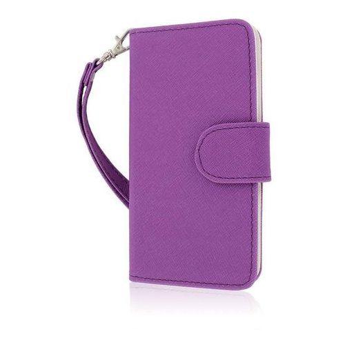 Mpero Flex Flip Wallet Case etui futerał na telefon komórkowy for HTC One Mini M4 – Purple/biały (0887615276125)