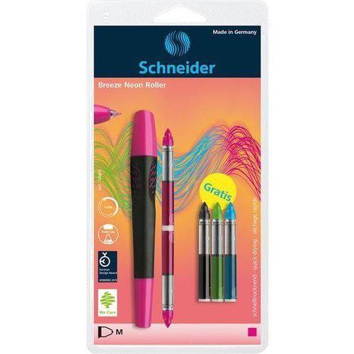 Pióro kulkowe breeze neon m różowe/czarne + 5 x kartridż blister marki Schneider