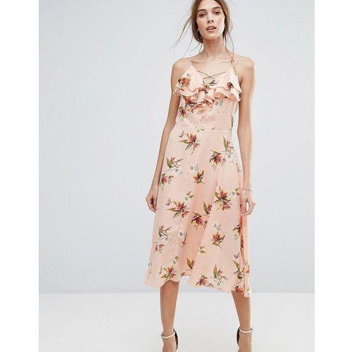 floral ruffle midi dress - pink, New look