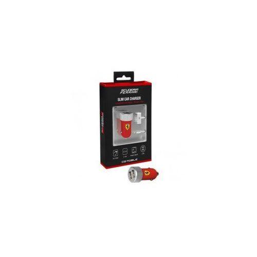 Ferrari  scuderia ładowarka samochodowa 2.1a 2xusb + kabel lightning i dock connector iphone, ipad (czerwony)
