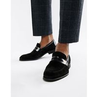 penny loafers in black suede and leather - black, Zign